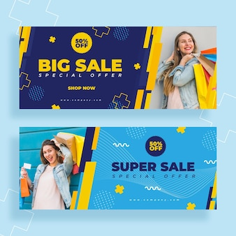 Banners de ventas planas con plantilla de foto