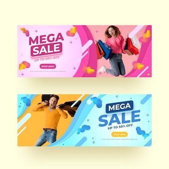 Banners de ventas realistas con foto.