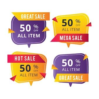 Banners de ventas de rótulo rectangular redondeados
