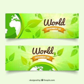 Banners verdes con hojas para el día mundial del medioambiente