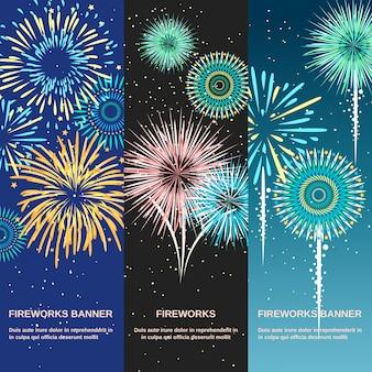 Banners verticales abstractos de fuegos artificiales festivos