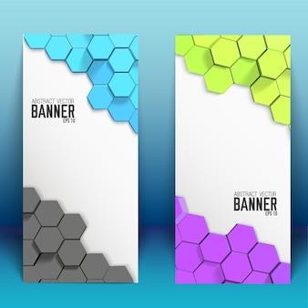 Banners verticales abstractos con hexágonos de colores