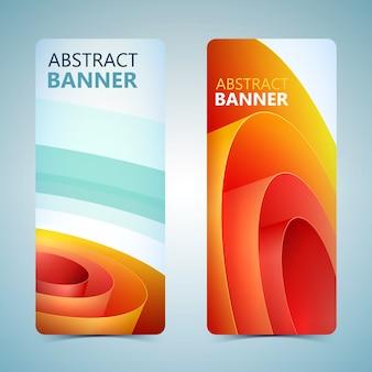 Banners verticales abstractos con papel de embalaje enrollado naranja aislado
