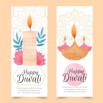 Banners verticales de acuarela de diwali