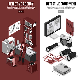 Banners verticales de la agencia de detectives