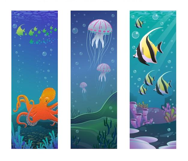 Banners verticales de animales marinos submarinos de dibujos animados