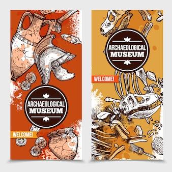 Banners verticales de arqueología dibujados a mano