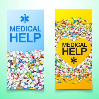 Banners verticales de atención médica ligera con inscripciones y cápsulas coloridas, tabletas, píldoras, ilustración