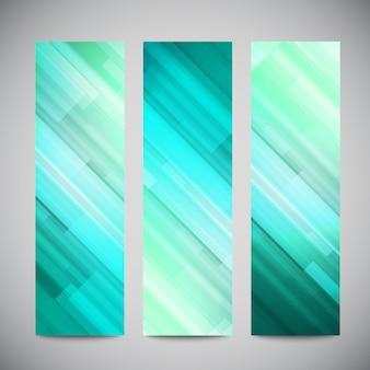 Banners verticales azules de baja poli con líneas abstractas poligonales. resumen fondo brillante poligonal.