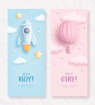 Banners verticales de baby shower