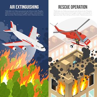 Banners verticales de bomberos