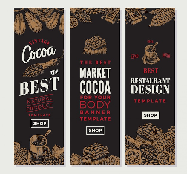 Banners verticales de cacao