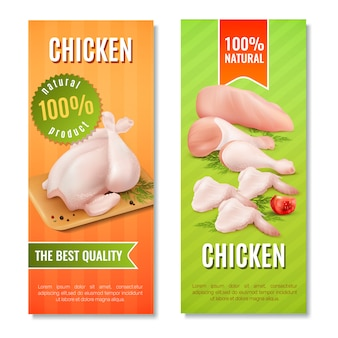Banners verticales de carne de pollo