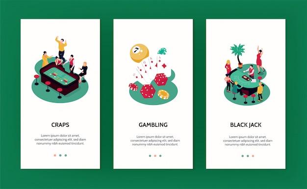 Banners verticales de casino con símbolos de juego isométricos aislados