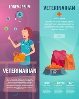 Banners verticales de clínica veterinaria
