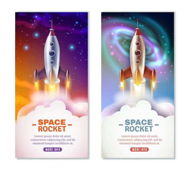 Banners verticales de cohetes espaciales