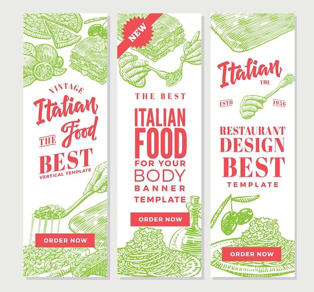 Banners verticales de comida italiana vintage