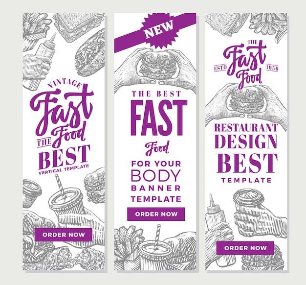 Banners verticales de comida rápida vintage