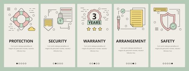 Banners verticales de concepto de seguro de diseño plano de línea delgada