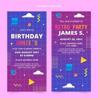 Banners verticales de cumpleaños degradado retro vaporwave