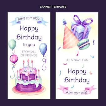 Banners verticales de cumpleaños dibujados a mano en acuarela