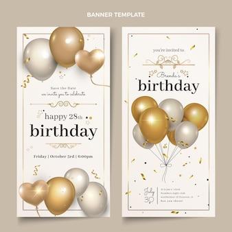 Banners verticales de cumpleaños dorado de lujo realista