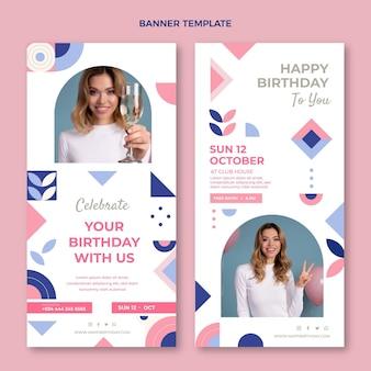 Banners verticales de cumpleaños de mosaico plano