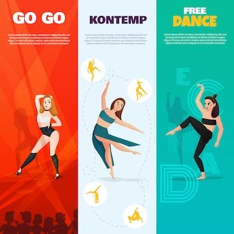Banners verticales de danzas modernas