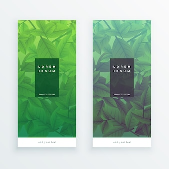 Banners verticales de hojas verdes