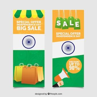 Banners verticales de rebajas del día de la independencia de la india