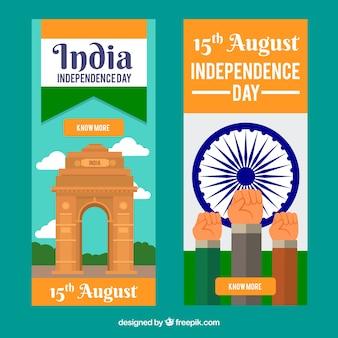 Banners verticales del día de la independencia de la india