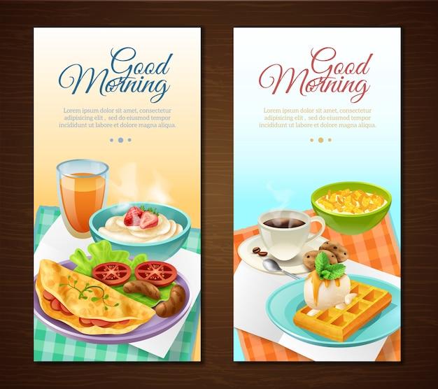 Banners verticales de desayuno