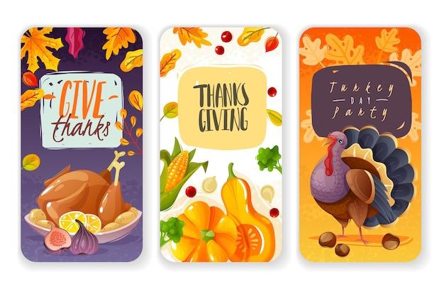 Banners verticales del día de acción de gracias. tres pancartas verticales en estilo de dibujos animados sobre el tema de la acción de gracias y el festival de la cosecha, íconos de vacaciones familiares tradicionales, elementos aislados