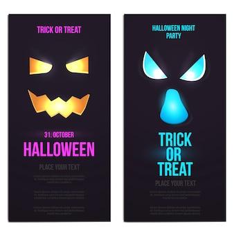 Banners verticales de diseño plano hallowen