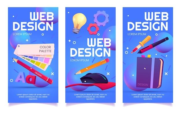 Banners verticales de diseño web de dibujos animados