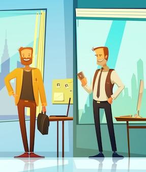 Banners verticales en estilo de dibujos animados con imágenes de empresarios sonrientes ubicados.