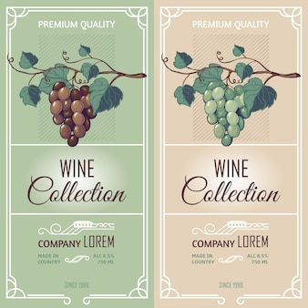 Banners verticales con etiquetas de vino