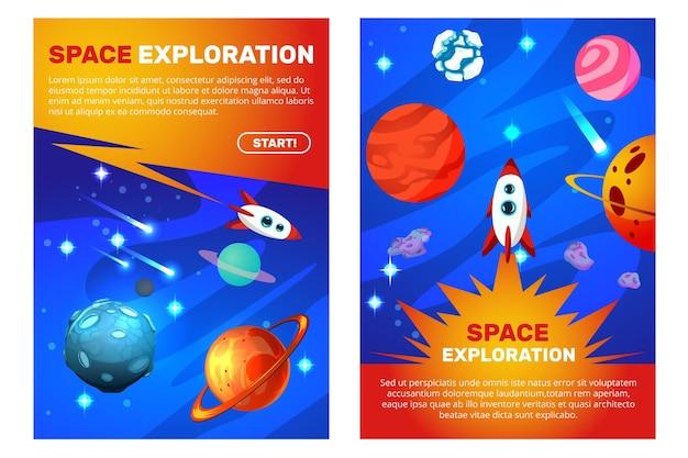 Banners verticales de exploración espacial.