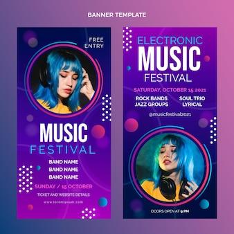 Banners verticales de festival de música colorido degradado