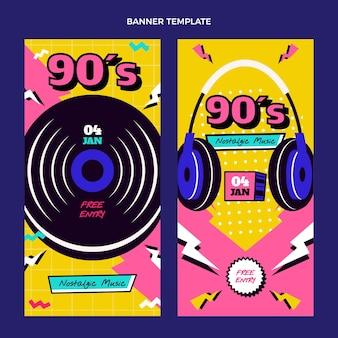 Banners verticales de festival de música nostálgica plana de los 90