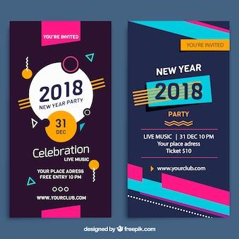 Banners verticales de fiesta de año nuevo 2018 estilo memphis