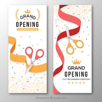 Banners verticales de fiesta de inauguración
