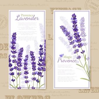 Banners verticales de flores de lavanda