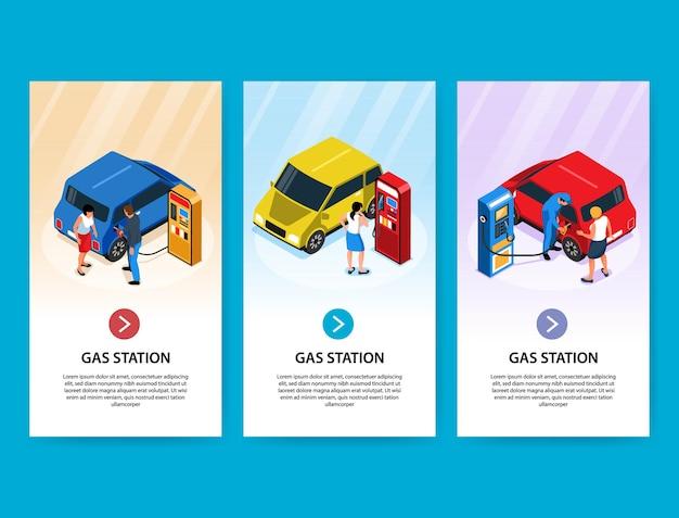 Banners verticales de gasolineras con personas que abastecen de combustible sus automóviles de forma independiente y con la ayuda de los empleados