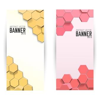 Banners verticales geométricos abstractos con hexágonos brillantes