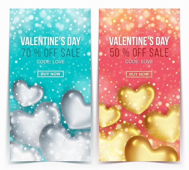 Banners verticales con globos en forma de corazón para oferta de descuento