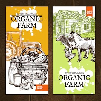 Banners verticales de granja ecológica