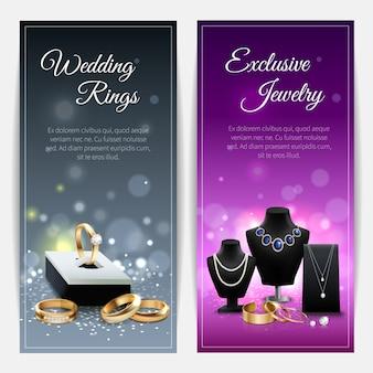 Banners verticales en gris y púrpura con anillos de boda y joyas exclusivas.