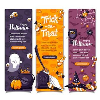 Banners verticales de halloween con patrón y elementos de halloween