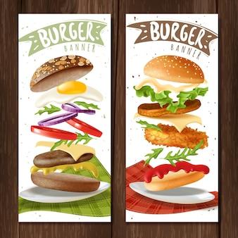Banners verticales de hamburguesa realista